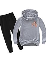 cheap -Kids Boys' Active Basic Holiday Daily Wear Athleisure Floral Print Patchwork Print Long Sleeve Regular Regular Clothing Set Gray