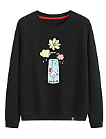 cheap -Women's Sweatshirt Pullover Sweatshirts Black White Pink Cartoon Cartoon Cute Flower Sport Athleisure Pullover Long Sleeve Warm Soft Comfortable Everyday Use Causal Exercising General Use