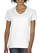 cheap -women's heavy cotton v-neck t-shirt, 2-pack, white, large