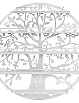 cheap -wall mounted 5 tier nail polish rack holder - tree silhouette round metal salon wall art display & #40;white& #41;