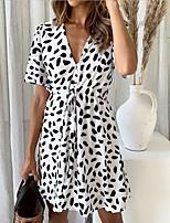 cheap -Women's A-Line Dress Short Mini Dress - Short Sleeve Print Ruched Print Summer V Neck Casual Daily 2020 White Black Red S M L XL