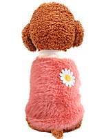 cheap -Dog Coat Character Flower Casual / Daily Cute Casual / Daily Winter Dog Clothes Warm Yellow Pink Yellow and Green Costume Polyster XS S M L XL