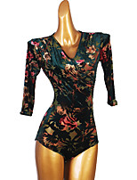 cheap -Latin Dance Leotard / Onesie Pattern / Print Women's Performance Half Sleeve Spandex