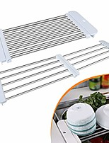 cheap -adjustable dish drying rack over the sink, stainless steel drainer for kitchen vegetable fruits dishes cups plates utensil cutlery (white)