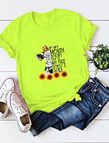 cheap -Women's T-shirt Floral Animal Letter Print Round Neck Tops 100% Cotton Basic Basic Top White Blue Yellow / Sunflower