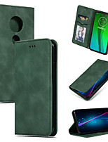 cheap -Case For MOTO G7 G7 Plus G7 Play G7 Power Card Holder Flip Full Body Cases Solid Colored PU Leather TPU