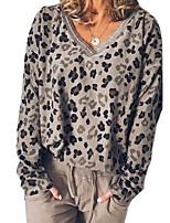 cheap -Women's Daily Pullover Sweatshirt Leopard Cheetah Print V Neck Casual Hoodies Sweatshirts  Khaki Gray