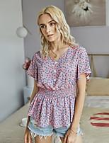 cheap -Women's Blouse Shirt Floral Flower Print V Neck Tops Basic Basic Top Blue Blushing Pink