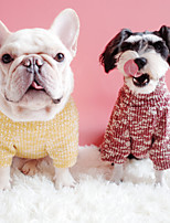 cheap -Dog Coat Sweater Solid Colored Casual / Daily Cute Casual / Daily Winter Dog Clothes Warm Yellow Red Blue Costume Plush S M L XL XXL