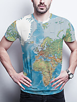 cheap -Men's Daily Plus Size T-shirt Graphic Print Short Sleeve Tops Basic Round Neck Blue / Sports