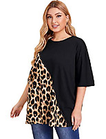 cheap -women& #39;s casual colorblock leopard print half sleeve summer t-shirt tops tee black and leopard 1xl