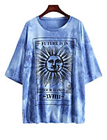 cheap -oversized t shirts for women loose casual short sleeve tie dye tops graphic tees mini dress f491-286-blue m