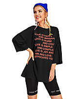 cheap -women casual letter graphic round neck short sleeve loose fit oversized plus graphic tee t-shirts top black-2 xl