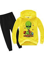 cheap -Kids Boys' Active Basic Holiday Daily Wear Athleisure Print Patchwork Print Long Sleeve Regular Regular Clothing Set Yellow