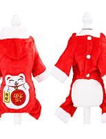 cheap -Dog Cat Coat Jumpsuit Slogan Sweet Style Winter Dog Clothes Red Costume Cotton XS S M L XL XXL