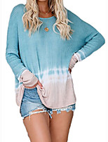 cheap -Women's Basic Knitted Geometric Pullover Long Sleeve Loose Oversized Sweater Cardigans Crew Neck Round Neck Fall Blue
