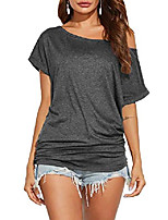 cheap -womens sexy summer batwing sleeve tops off the shoulder blouse & #40;s, a7 dark grey& #41;