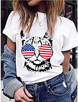 cheap -Women's T-shirt Cat Round Neck Tops Basic Top White Blue Red