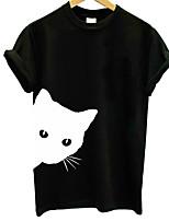 cheap -Women's T-shirt Graphic Prints Print Round Neck Tops Slim 100% Cotton Basic Basic Top White Black
