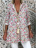 cheap -Women's Holiday Blouse Floral Long Sleeve Print Shirt Collar Tops Loose Streetwear Basic Top Blushing Pink