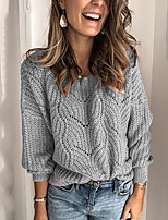cheap -Women's Basic Knitted Hollow Out Solid Color Plain Pullover Long Sleeve Loose Sweater Cardigans V Neck Fall Winter Black Blue Blushing Pink