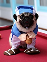 cheap -Dog Cat Halloween Costumes Costume Shirt / T-Shirt Baseball Cosplay Cool Christmas Party Dog Clothes Breathable Blue Costume Polyester S M L XL