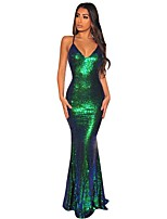 cheap -Mermaid / Trumpet Beautiful Back Sexy Engagement Formal Evening Dress Spaghetti Strap Sleeveless Sweep / Brush Train Spandex with Sequin 2020
