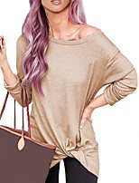 cheap -Women's Blouse Solid Colored Long Sleeve Round Neck Tops Loose Basic Basic Top Blue Purple Blushing Pink