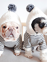 cheap -Dog Coat Hoodie Stripes Casual / Daily Cute Casual / Daily Winter Dog Clothes Warm Gray Costume Cotton S M L XL