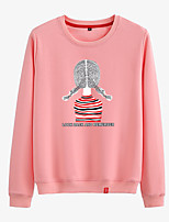 cheap -Women's Sweatshirt Womens Pullover Sweatshirts Black White Pink Cartoon Crew Neck Cotton Person Cartoon Cute Sport Athleisure Pullover Long Sleeve Breathable Warm Soft Comfortable Everyday Use Causal