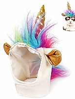 cheap -pet unicorn hat for cats kitty small dog puppy cute adorable unicorn costume in halloween christmas festival pet costume cosplay accessories