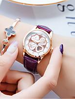 cheap -WISHDOIT Women's Quartz Watches Quartz Glitter Floral Style Elegant Water Resistant / Waterproof Genuine Leather Analog - White Black Blue