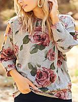 cheap -Women's Daily Pullover Sweatshirt Floral Ladies Hoodies Sweatshirts  Cotton Blue Gray