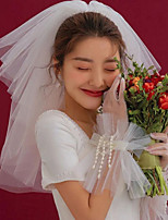 cheap -Two-tier Love Wedding Veil Shoulder Veils with Solid Organza