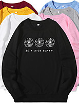 cheap -Women's Sweatshirt Cartoon Crew Neck Flower Letter Printed Sport Athleisure Pullover Long Sleeve Warm Soft Oversized Comfortable Everyday Use Causal Exercising General Use