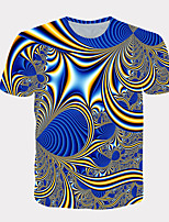 cheap -Men's Daily T-shirt Graphic Print Short Sleeve Tops Streetwear Exaggerated Round Neck Blue