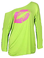 cheap -women casual oversized sexy lips print off shoulder t-shirt (us 6-8/tag size m, neon green long sleeve)