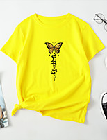 cheap -Women's T-shirt Butterfly Print Round Neck Tops 100% Cotton Basic Basic Top White Blue Red