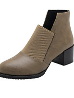 cheap -Women's Boots Block Heel Round Toe British Daily Party & Evening Solid Colored PU Booties / Ankle Boots Black / Green / Brown