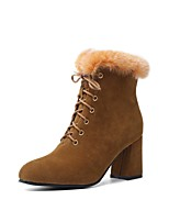 cheap -Women's Boots Wedge Heel Round Toe Classic Daily Solid Colored Nubuck Booties / Ankle Boots Black / Yellow / Green