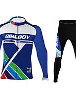cheap -BIKEBOY Men's Women's Long Sleeve Cycling Jersey Cycling Pants Blue Bike Quick Dry Sports Mountain Bike MTB Road Bike Cycling Clothing Apparel / Stretchy