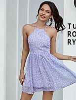 cheap -Women's A-Line Dress Short Mini Dress - Sleeveless Floral Backless Print Summer Halter Neck Casual Slim 2020 Purple S M L