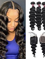 cheap -4 Bundles Hair Weaves Brazilian Hair Deep Wave Human Hair Extensions Human Hair Hair Weft with Closure 8-28 inch Natural Women Natural Youth