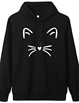 cheap -Women's Hoodie Cartoon Hoodie Cat Sport Athleisure Pullover Long Sleeve Warm Soft Oversized Comfortable Everyday Use Exercising General Use
