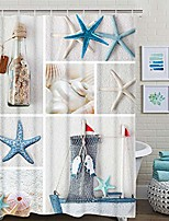 cheap -nautical shower curtain, marine sail boat beach starfish shell sea life shower curtain with 12 hooks, waterproof shower curtain