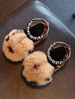 cheap -Girls' Flats Comfort Faux Fur Little Kids(4-7ys) Walking Shoes Red / Brown Fall / Winter / Leopard