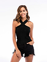 cheap -Women's Tank Top Solid Colored Criss Cross Halter Neck Tops Sexy Basic Top White Black Blushing Pink