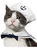 cheap -Dog Cat Halloween Costumes Bandanas & Hats Sailor Cute Cool Christmas Party Dog Clothes Breathable White Costume Fabric