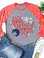 cheap -womens christmas t shirts printed raglan sleeve casual baseball tees tops & #40;red,large& #41;