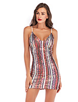 cheap -Women's A-Line Dress Short Mini Dress - Sleeveless Solid Color Sequins Embroidered Summer V Neck Sexy Party Club 2020 Purple Red S M L XL